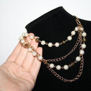 """Vintagejelyfish Jewelry - Gold chain and pearl layered necklace 16"""""""